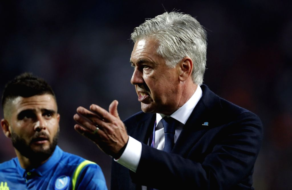 BELGRADE, Sept. 19, 2018 - Napoli's head coach Carlo Ancelotti gestures during a UEFA Champions League group C match between Crvena Zvezda and Napoli in Belgrade, Serbia, on Sept. 18, 2018. The match ...