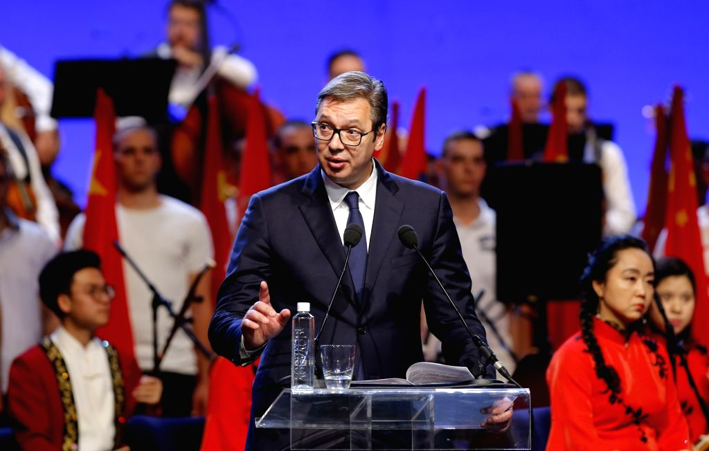BELGRADE, Sept. 22, 2019 - Serbian President Aleksandar Vucic delivers a keynote speech at a concert marking the 70th anniversary of the founding of the People's Republic of China (PRC) in Belgrade, ...