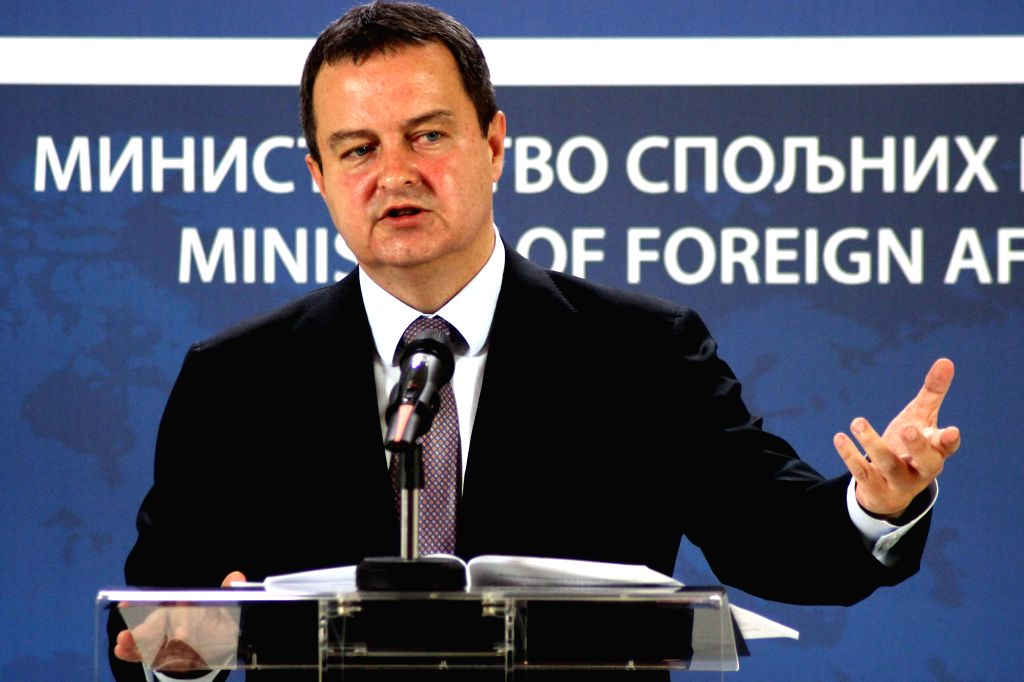 Serbian Foreign Minister Ivica Dacic holds a press conference at the foreign ministry building in Belgrade, Serbia, on Sept. 5, 2014. Although Serbia is not ...