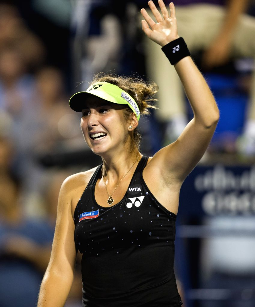 Belinda Bencic of Switerland celebrates victory after her semifinal match of women's singles against Serena Williams of the United States at the 2015 Rogers Cup in ...