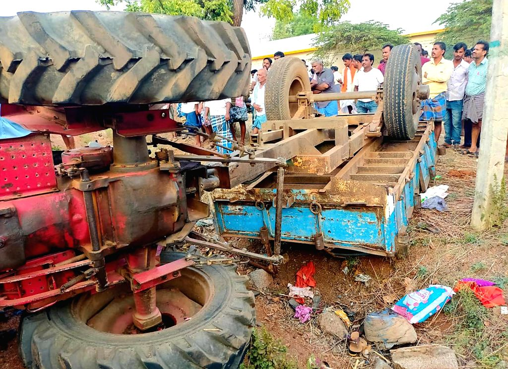 Bellary (Karnataka): Tractor that carrying marriage party turned aside and killing five person near Huvina Hadagali of Bellary district, Karnataka on March 19, 2020.