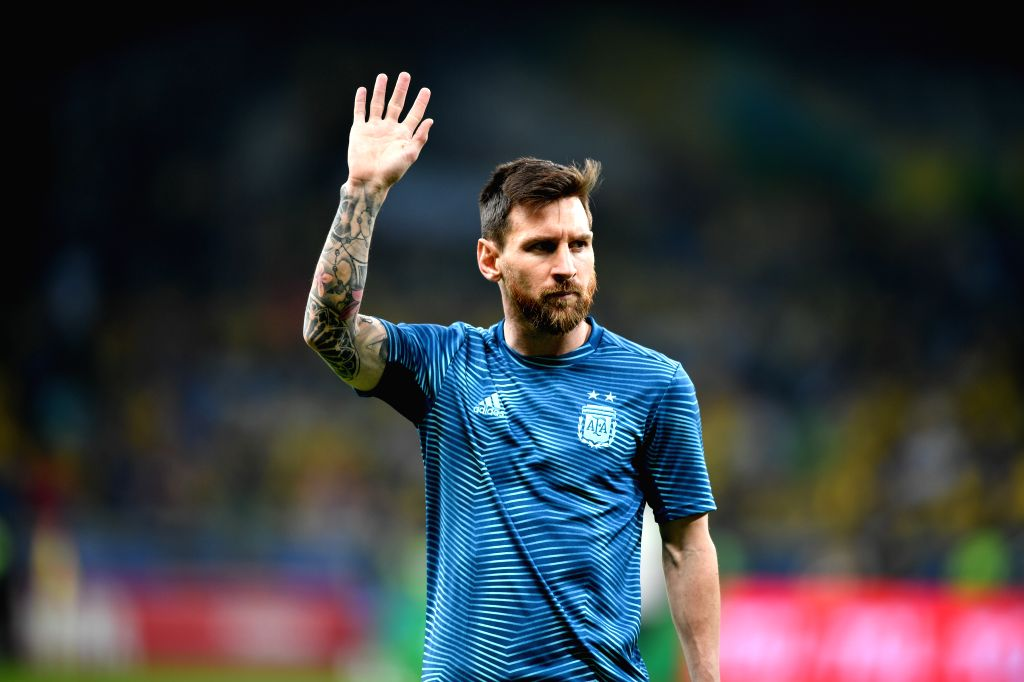 BELO HORIZONTE, July 3, 2019 (Xinhua) -- Argentina's Lionel Messi reacts before the Copa America 2019 semifinal match between Argentina and Brazil, held in Belo Horizonte, Brazil, July 2, 2019. (Xinhua/Xin Yuewei)