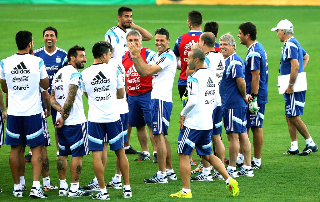 Argentina's players take part in a training session in Belo Horizonte, Brazil, July 6, 2014. Argentina will competes with Netherlands in a semi-finals match ..