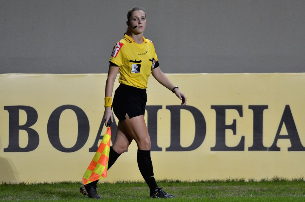 Assistant referee Fernanda Colombo Uliana reacts during the match between Atletico MG and Cruzeiro of Brazilian Championship at the Independencia Stadium in ..