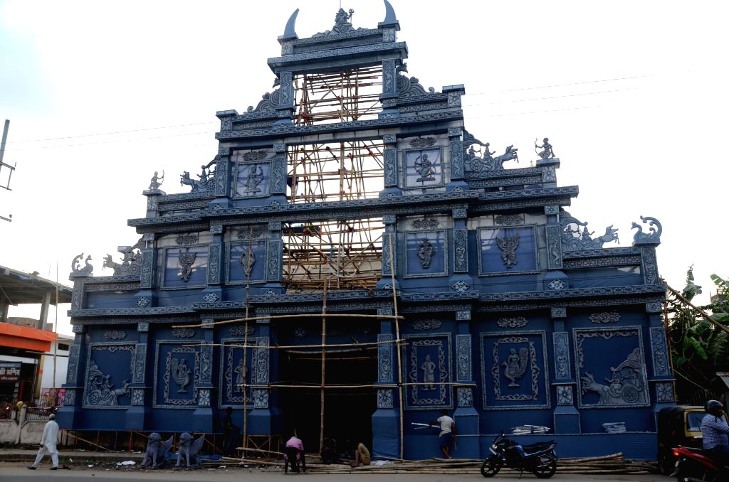 Beltola Lakhi Mandir pandal being constructed in Guwahati on Oct 17, 2015.