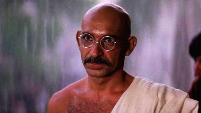 Ben Kingsley as Mahatma Gandhi.