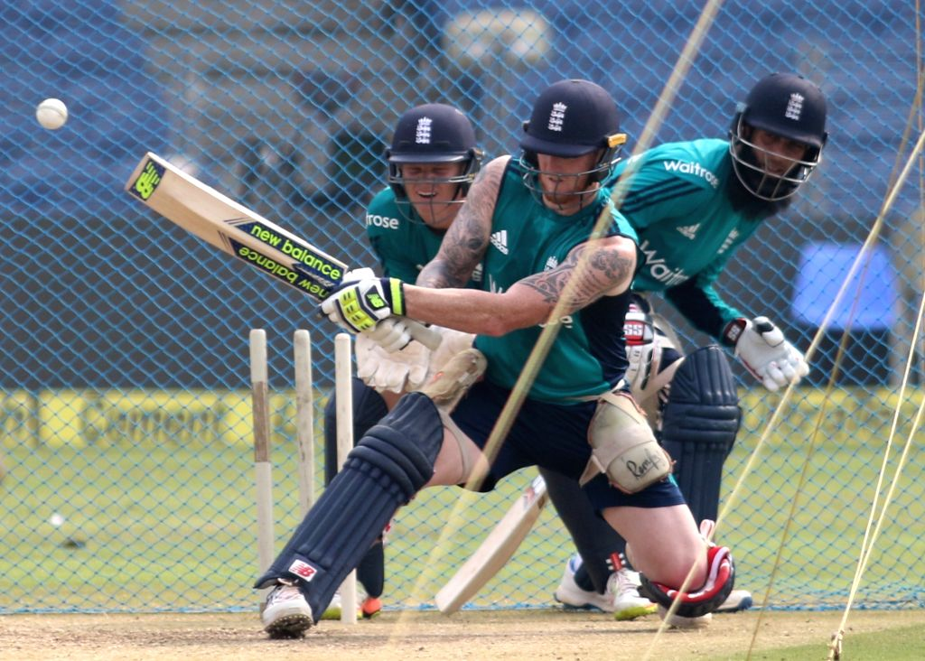 Ben Stokes of England during a practice session ahead of the 1st ODI match between India and England at Maharashtra Cricket Association Stadium, Pune on Jan 14, 2017.