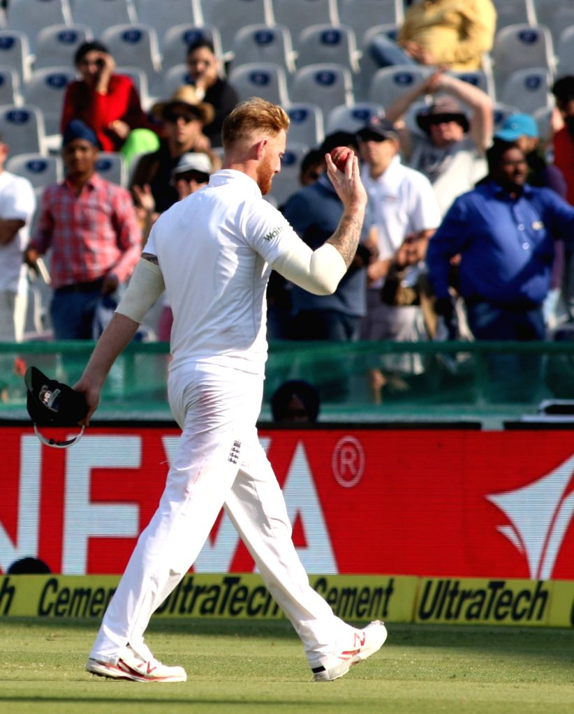 Ben Stokes of England on Day 3 of the third test match between India and England at Punjab Cricket Association IS Bindra Stadium, Mohali on Nov 28, 2016.