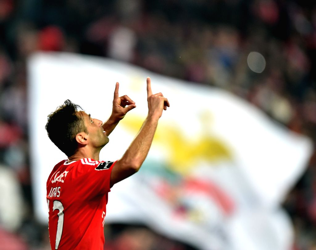 Benfica's Jonas celebrates after scoring during 12th round of the Portuguese League Football Match between SL Benfica and A. Academica at the Luz stadium in Lisbon on ...