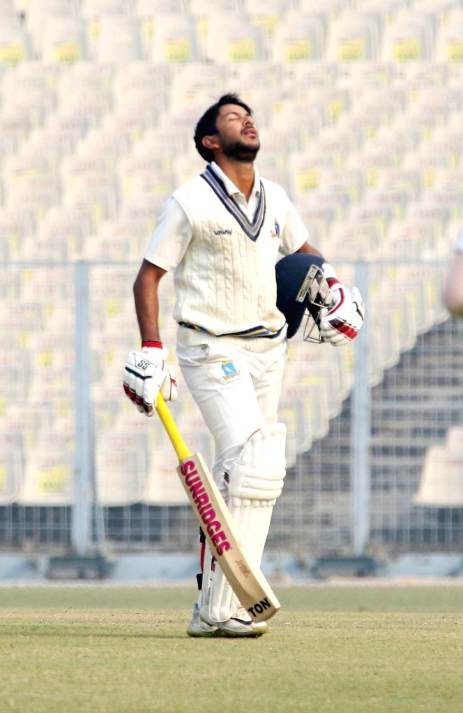Bengal's Anustup Majumdar reacts after getting dismissed on Day 3 of the Ranji Trophy match between Bengal and Delhi at the Eden Gardens in Kolkata, on Jan 28, 2020.
