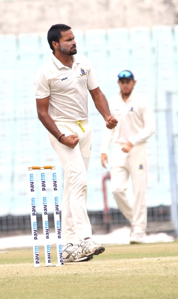 Bengal's Mukesh Kumar celebrates a wicket during the Ranji Trophy match between Delhi and Bengal at the Eden Gardens in Kolkata on Jan 29, 2020. - Mukesh Kumar