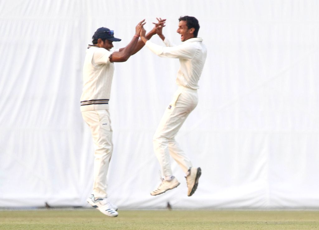 Bengal's Shahbaz Ahmed celebrates the fall of a wicket on Day 3 of the Ranji Trophy match between Bengal and Delhi at the Eden Gardens in Kolkata, on Jan 28, 2020.