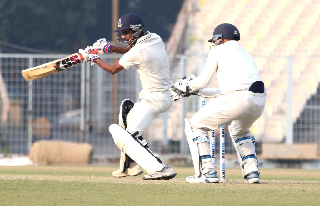 Bengal's Shahbaz Ahmed in action during a Ranji Trophy match between Delhi and Bengal at the Edeen Gardens in Kolkata on Jan 27, 2020.