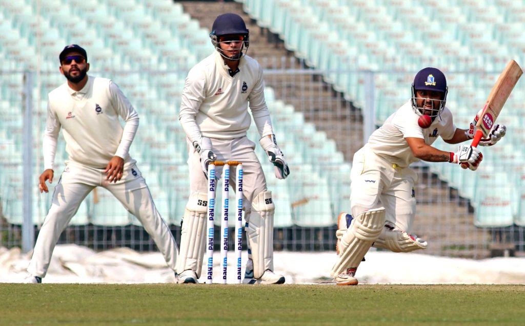 Bengal's Shreevats Goswami in action during a Ranji Trophy match between Delhi and Bengal at the Edeen Gardens in Kolkata on Jan 27, 2020. - Shreevats Goswami