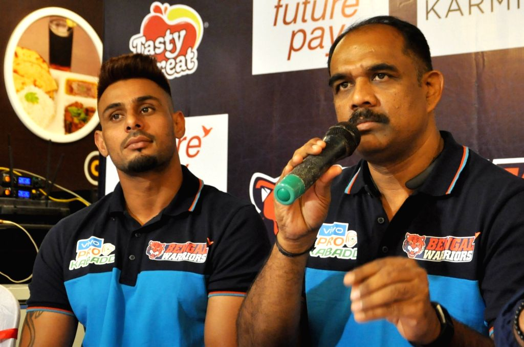 Bengal Warrior coach BC Ramesh accompanied by  Captain Maninder Singh, addresses a press conference, in Kolkata on Sep 6, 2019. - Maninder Singh