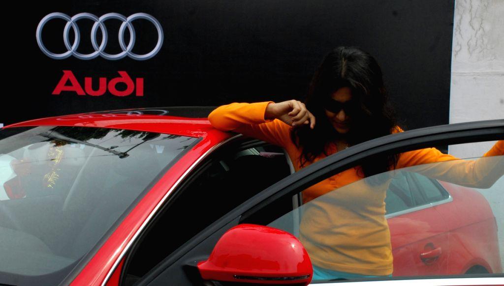 Bengali Film actress Locket Chatterjee at Car Carnival in Kolkata on saturday 13 June 09. Marcedes, Audi, Volkswagen and Skoda models at the motor mela organised by Marks N Glix at it's Ballygung