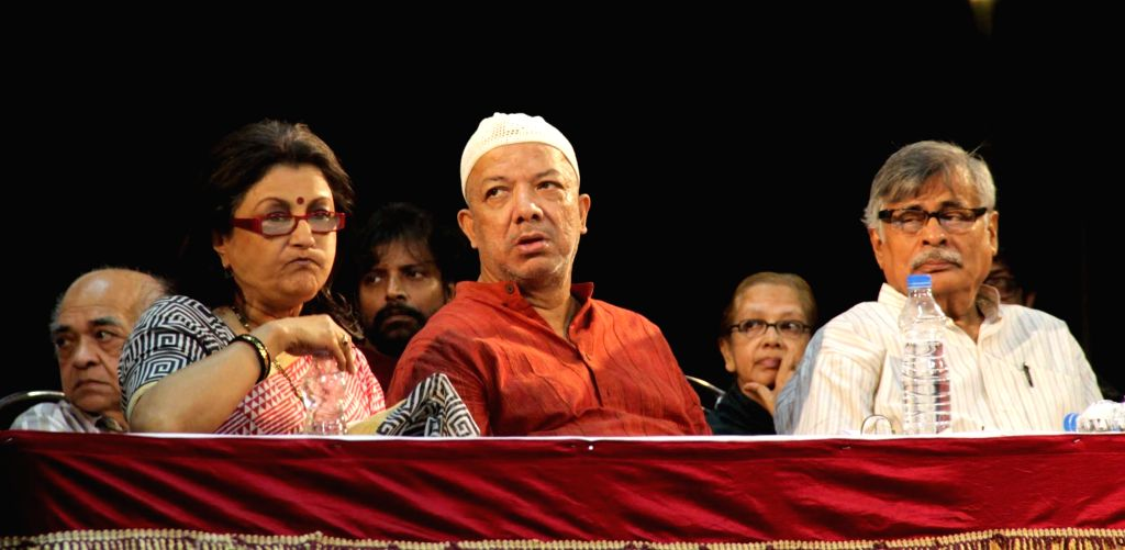 Bengali poet Kabir Suman, veteran actress Aparna Sen and others stage a demonstration against religious intolerance in Kolkata, on Nov 19, 2015. - Aparna Sen