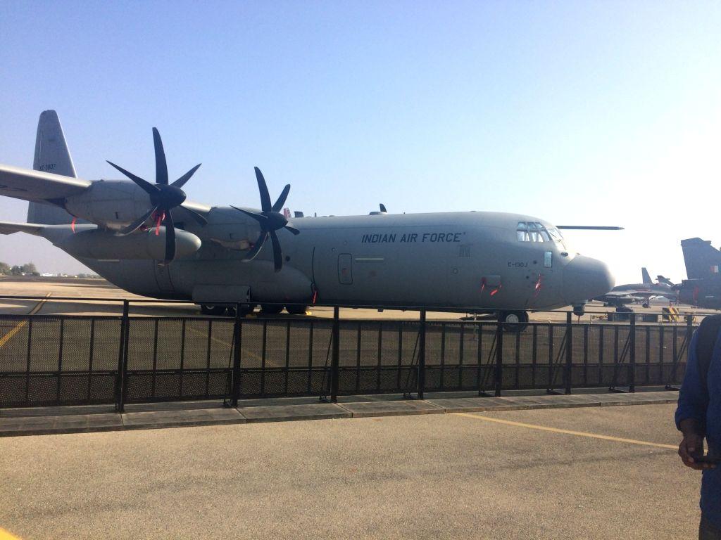 Bengaluru: A C-130J Super Hercules on display during Aero India 2019 - air show that is being held at at Yelahanka Air Force Station, in Bengaluru, on Feb 20, 2019. (Photo: IANS)