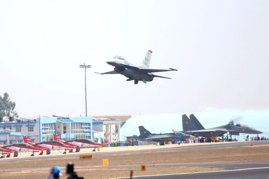 "Bengaluru: A F-16 fighter jet at ""Aero India 2019"" - air show at Yelahanka Air Force Station, in Bengaluru, on Feb 20, 2019. (Photo: IANS)"