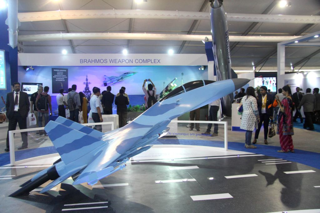 A fighter plane model on display during the Aero India-2015 Air Show, at Yelahanka Air-force Station, in Bengaluru on Feb 19, 2015.
