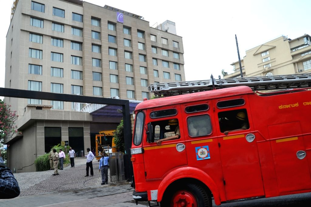 Bengaluru : A fire breaks out at Hotel Chancery Pavilion in Bengaluru on April 11, 2016.
