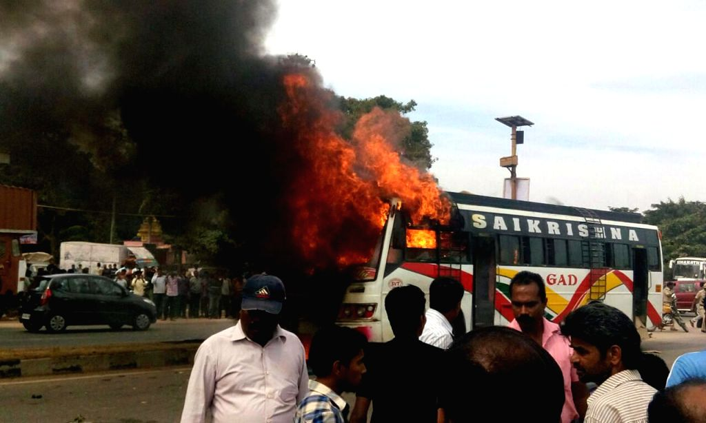 A private bus catches fire after an accident in Bengaluru, on Dec 2, 2014.