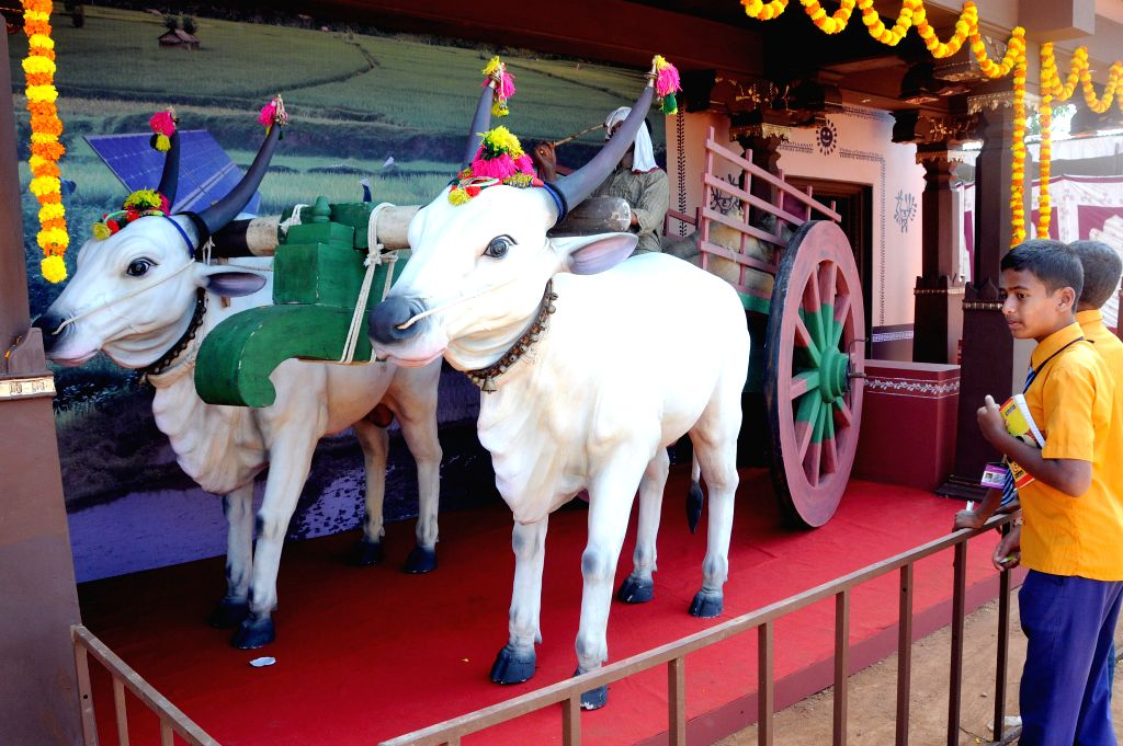 A replica of farmers bullock cart attracts the visitors during Krishi Mela - 2014 organized by University of Agricultural Sciences at Gandhi Krishi Vignayana Kendra(GKVK), in Bengaluru on .