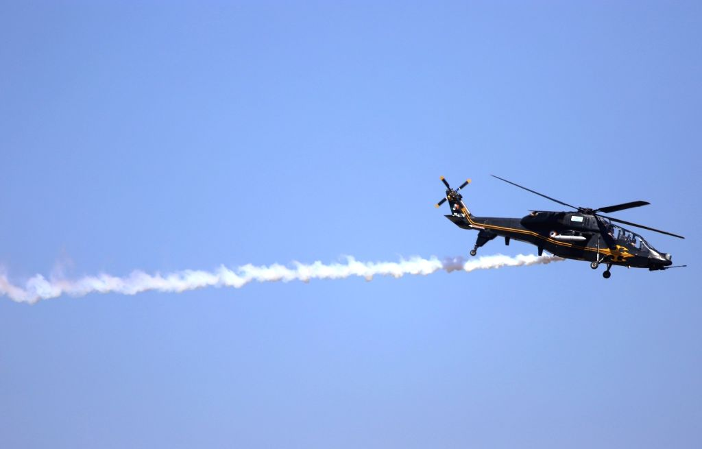 Bengaluru: A Rudra helicopter during rehearsals for AERO India 2019 at Air Force Station Yelahanka in Bengaluru on Feb 18, 2019. (Photo: IANS)