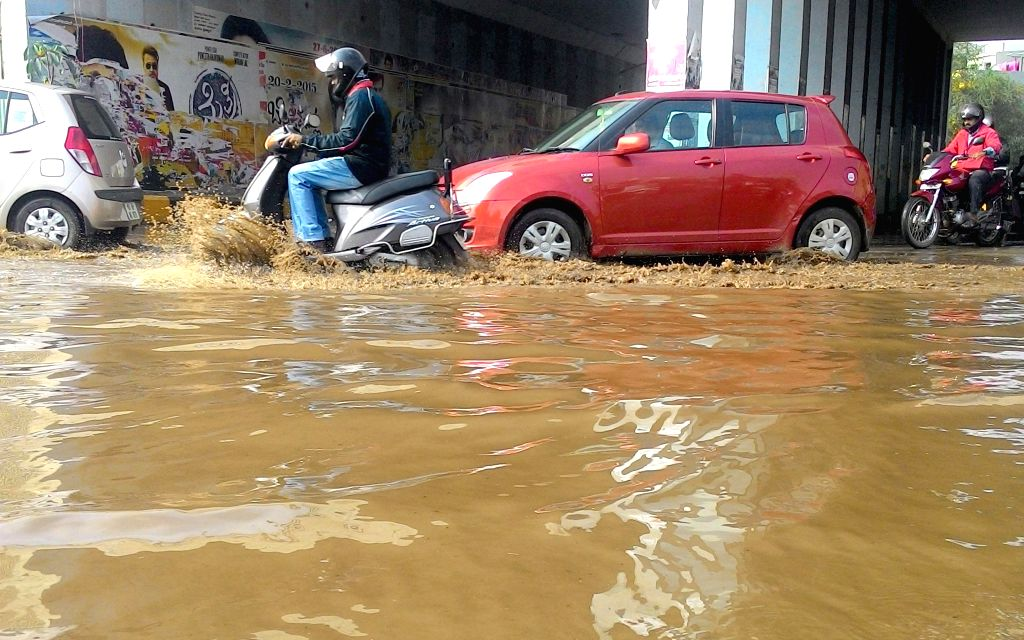 A view of a waterlogged underpass after sudden rains in Bengaluru, on March 3, 2015.