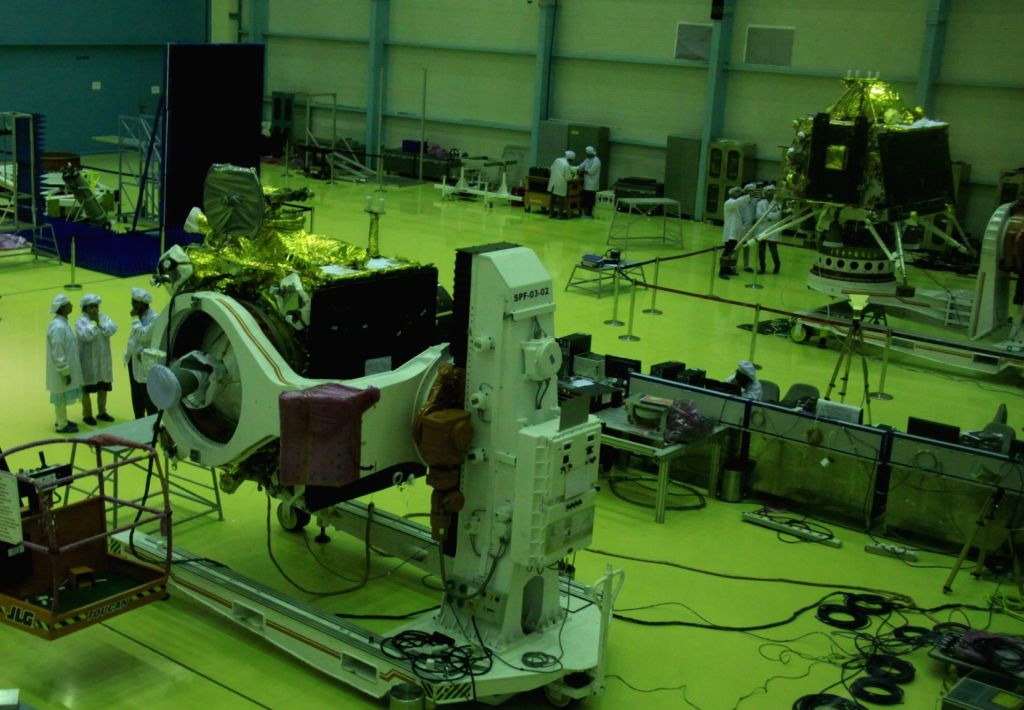 Bengaluru: A view of the the modules of India's second moon mission Chandrayaan 2 that is scheduled to be launched between July 9-16, during media preview in Bengaluru on June 12, 2019. (Photo: IANS)