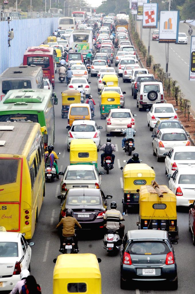 A view of traffic jam at Mekri Circle as a result of heavy rains in Bengaluru, on March 3, 2015.