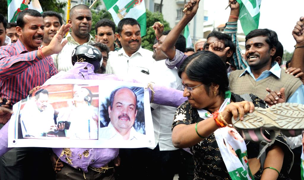 Activists of JD (S) Youth Wing protest against BJP legislator Prabhu Chawan in Bengaluru on Dec 12, 2014.