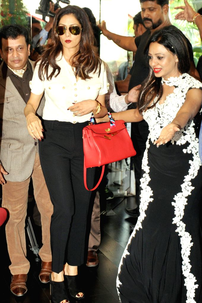 Actress Sridevi at the inauguration of a food lounge in Bengaluru, on May 24, 2015.