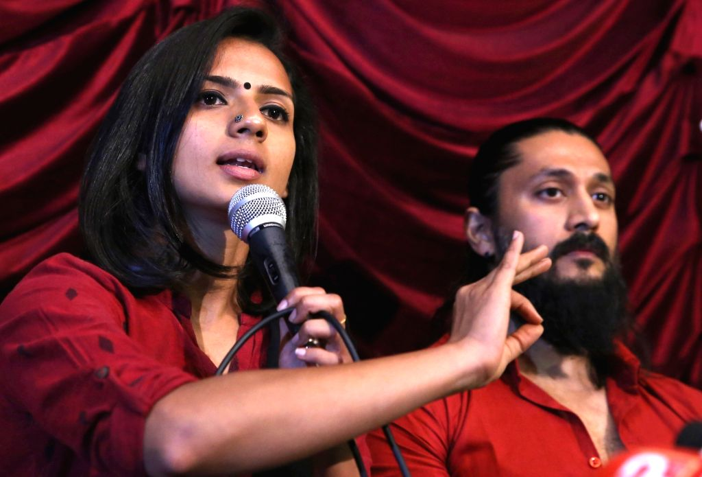 : Bengaluru: Actress Sruthi Hariharan addresses a press conference along with actor Chetan Kumar, in Bengaluru on Oct 21, 2018. Hariharan on Saturday accused multilingual south Indian actor Arjun ...