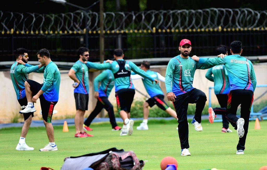 Bengaluru: Afghan players during a practice session ahead of their maiden cricket test match against India in Bengaluru on June 11, 2018. (Photo: IANS)