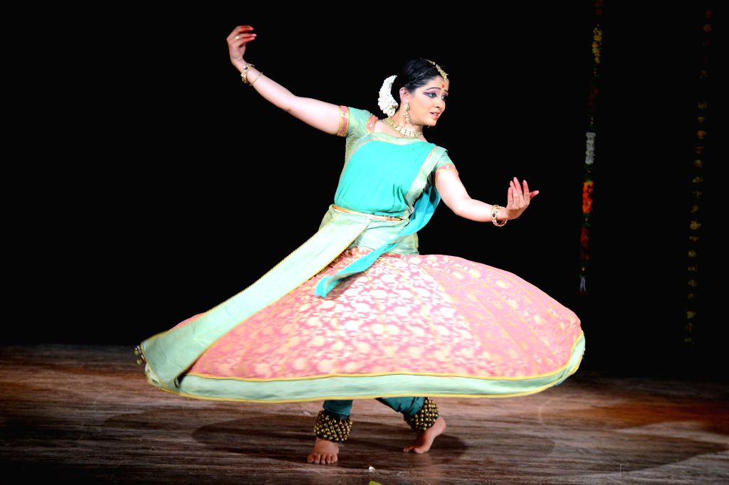 An artist performs Bharatanatyam during `Sankramana - 2015` organised by  at Nayana Auditorium in Bengaluru on Feb 12, 2015.