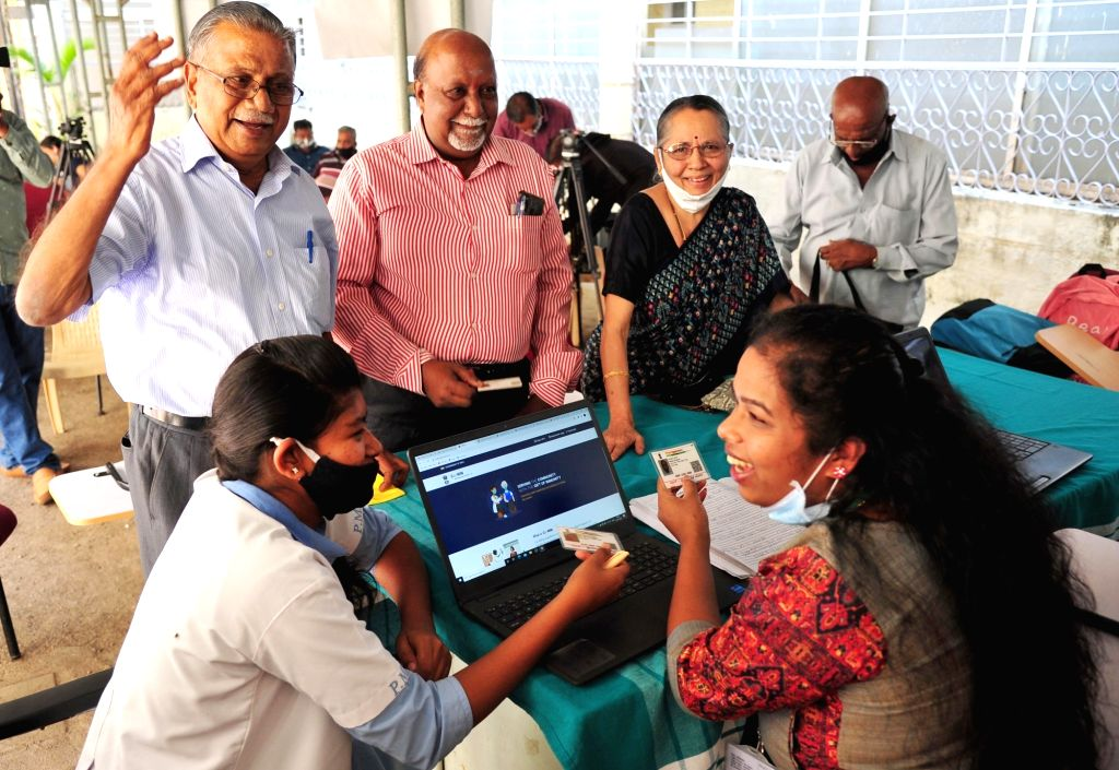 Bengaluru : An elderly citizen being administered the COVID-19 vaccine, during the second phase of countrywide inoculation drive, at a private hospital, in Bengaluru on Monday 1st March, 2021.
