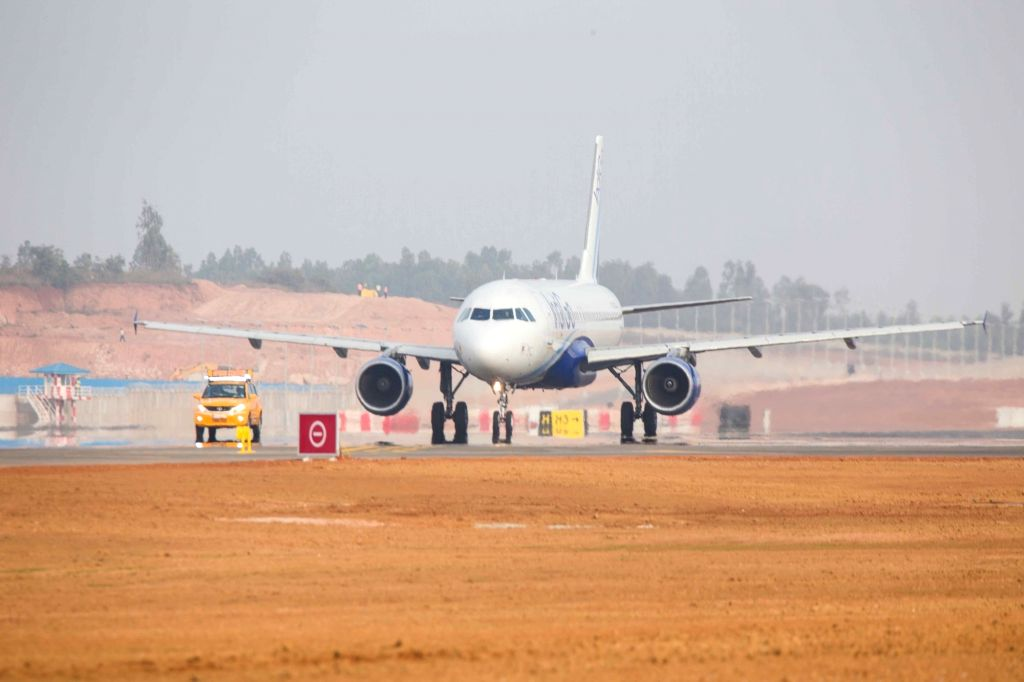 Bengaluru: An IndiGo flight from Bengaluru to Hyderabad on was the first flight to take off from the second new south runway of the Kempegowda International Airport in Bengaluru on Dec 6, 2019. (Photo: IANS)