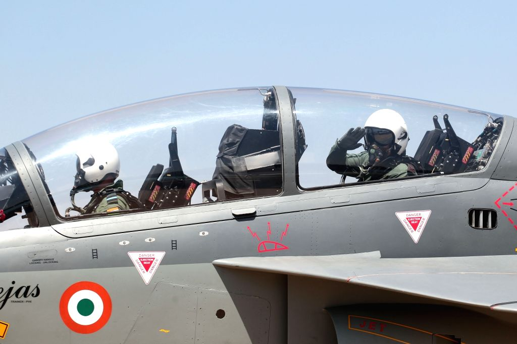 "Bengaluru: Army chief General Bipin Rawat ready to Tejas fighter aircraft during ""Aero India 2019"" - air show at Yelahanka Air Force Station, in Bengaluru, on Feb 21, 2019. (Photo: IANS)"