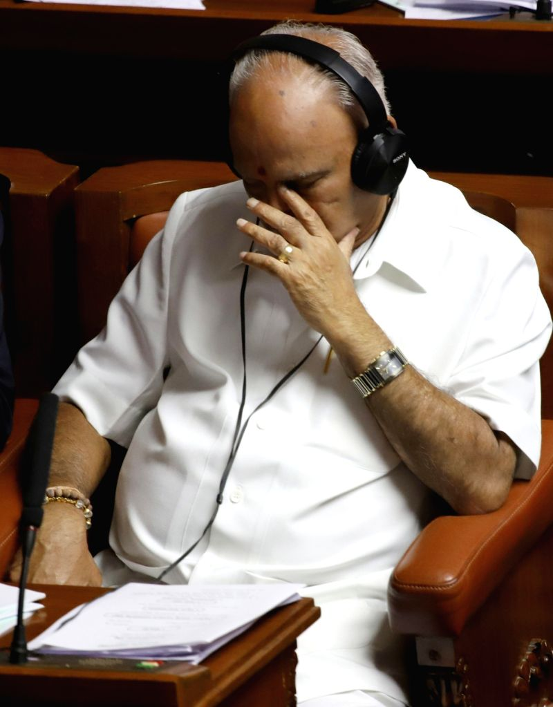 Bengaluru: Assembly Opposition leader BS Yeddiyurappa during the discussion on audiogate controversy at the Karnataka Assembly Session at Vidhana Soudha, in Bengaluru on Feb 11, 2019. (Photo: IANS)