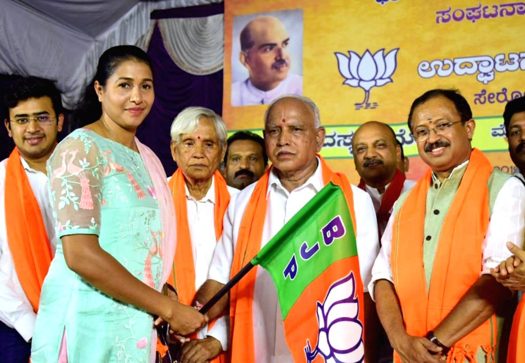 Bengaluru: Athlete Anju Bobby George joins BJP in presence of Karnataka BJP chief B. S. Yeddyurappa in Bengaluru on July 6, 2019. (Photo: IANS)