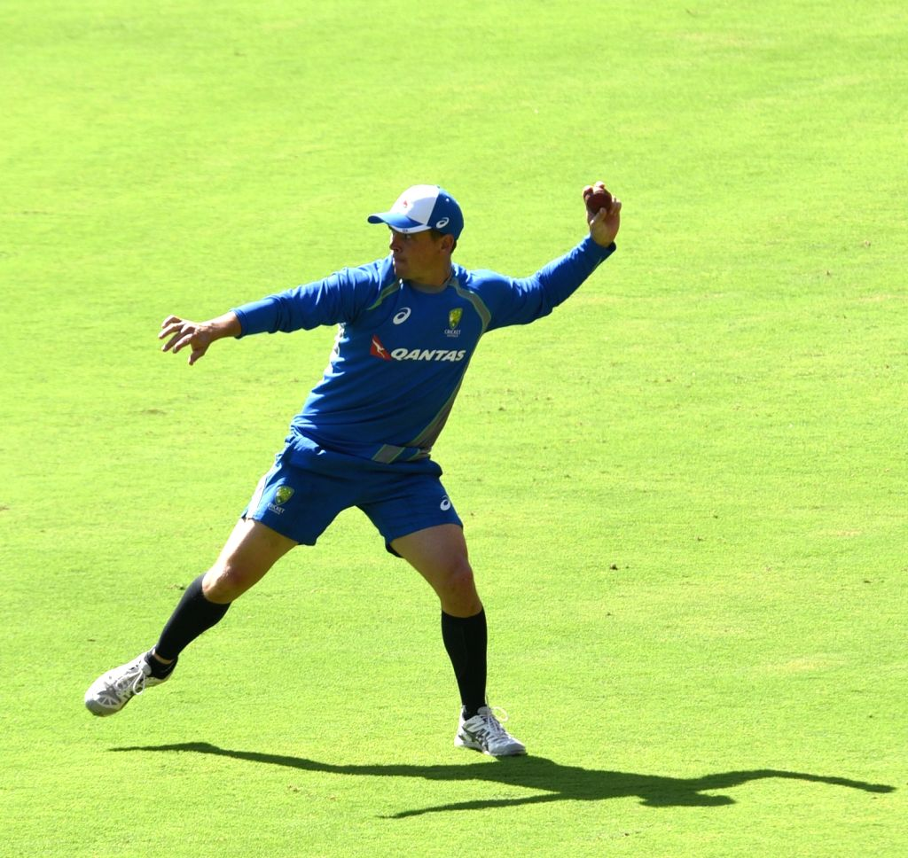 Bengaluru: Australian cricketer Josh Hazlewood in action during a practice session ahead of the second test match between India and Australia in Bengaluru on March 2, 2017. (Photo: IANS)