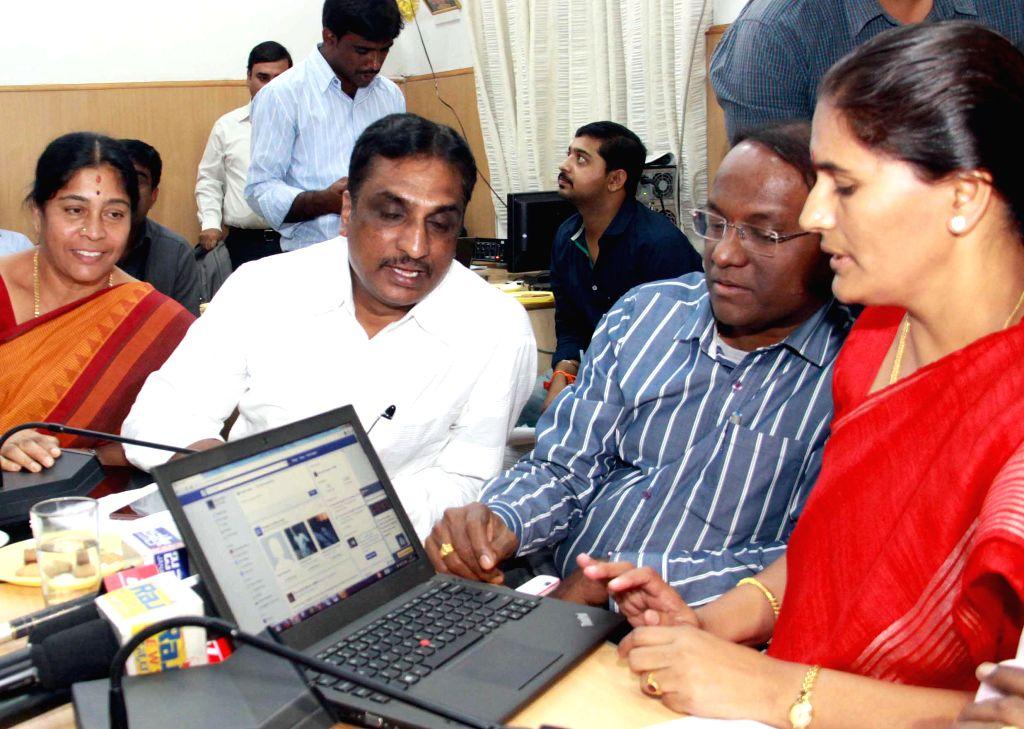 Bangalore Mayor Shanta Kumari launches Mayor's Facebook and Twitter account in Bengaluru, on Dec 22, 2014.