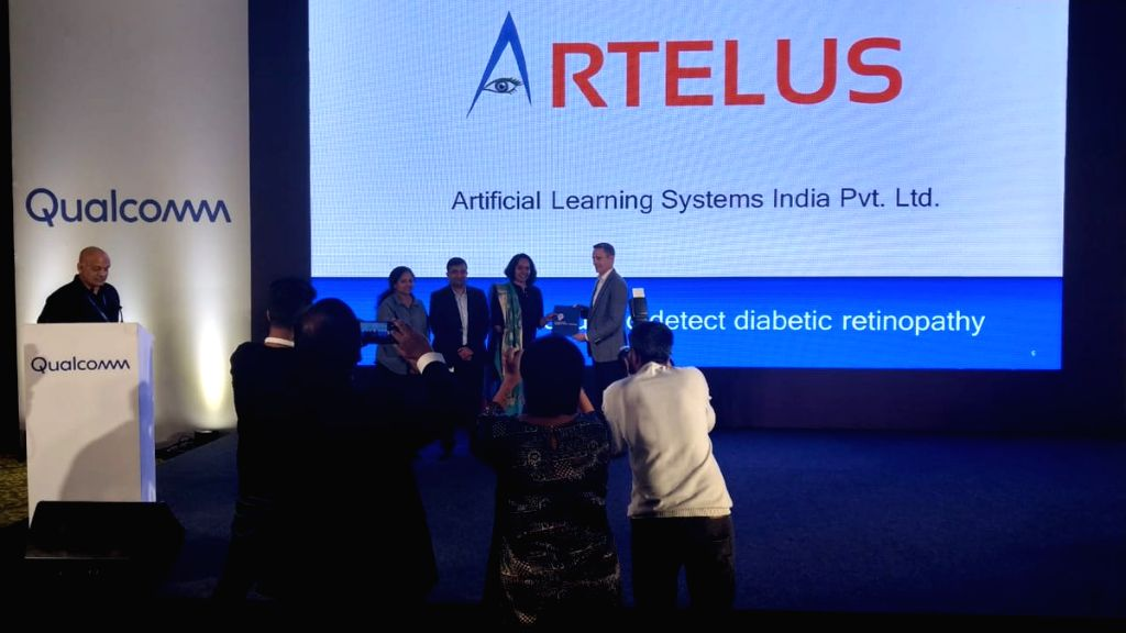 Bengaluru-based medtech firm Artelus India Pvt Ltd took home $100,000 after winning chipset maker Qualcomm's challenge for start-ups in India. (Photo: Twitter/@qualcomm_in)