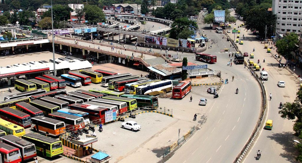 Bengaluru: Buses remain parked at a Bengaluru bus depot during a 24-hour nationwide transport strike called by trade unions on April 30, 2015.