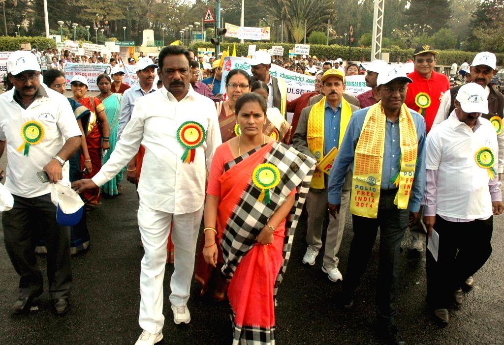 Bengaluru Mayor Shanta Kumari participates in a Polio Awareness rally in Bengaluru, on Jan 16, 2015.