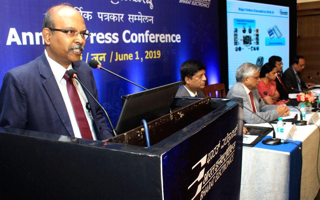 Bengaluru: Bharat Electronics Ltd (BEL) MD and Chairman M.V. Gowtama addresses at a press conference in Bengaluru, on June 1, 2019. (Photo: IANS)