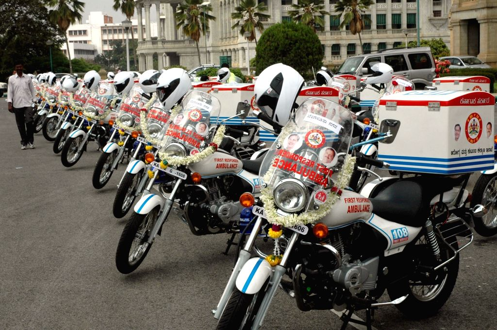 """Bike Ambulances that were launched by Karnataka Chief Minster Siddaramaiah as a part of  """"platinum ten minutes"""" trauma care initiative aimed to reduce number of deaths in road ..."""