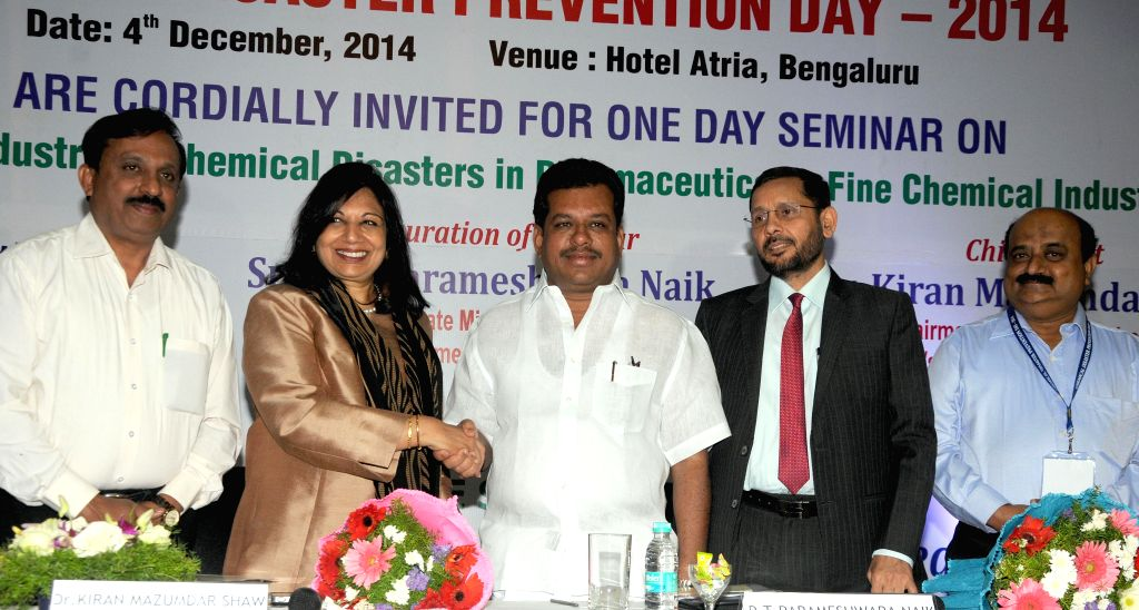 Biocon chief Kiran Mazumdar Shaw, Karnataka MoS for Labour P T Parameshwar Naik and others during the seminar on `Prevention of Industrial/Chemical Disasters and Fine Chemical Industries` .