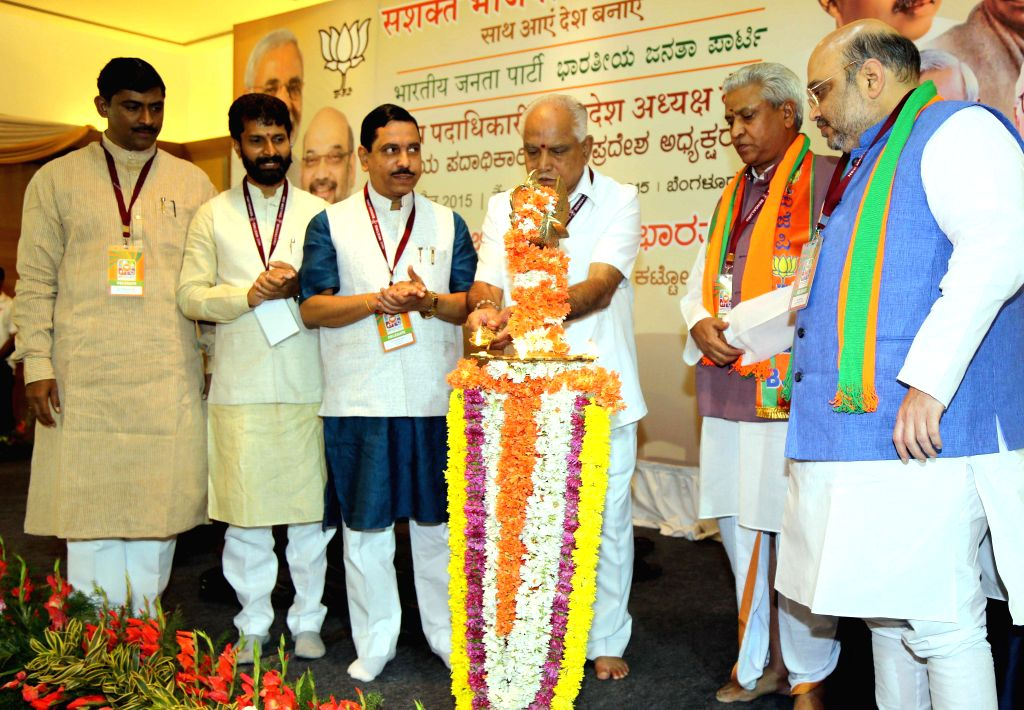 BJP chief Amit Shah with party leaders B S Yeddyurappa Prahalad Joshi, CT Ravi, Muralidhar Rao and others at the inauguration of National Executive Committee meeting of the party in ... - Amit Shah and Muralidhar Rao
